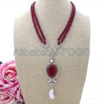 19″ 2Stands Red Onyx <b>Necklace</b> Keshi Pearl CZ Pendant