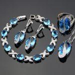 Blue Cubic Zirconia <b>Jewelry</b> White CZ 925 Sterling Silver <b>Jewelry</b> Set Women Earrings/Pendant/Necklace/Rings/Bracelet