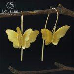 Lotus Fun Real 925 <b>Sterling</b> <b>Silver</b> Natural Creative Handmade Fine <b>Jewelry</b> Gorgeous 3D Butterfly Drop Earrings for Women Brincos