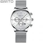 Fashion <b>Silver</b> Lady Casual Watches Stainless Steel Classic Retro Elegant Female Wristwatch Business Brand GIMTO Women's Clock