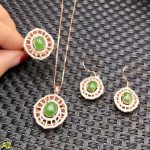 KJJEAXCMY boutique jewels 925 pure <b>silver</b> inlaid jade jewelry ring, Pendant <b>Earrings</b> 3 piece + Necklace