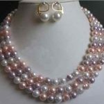 Free shipping@@@@@Natural mixed White pink purple shell Pearl <b>Necklace</b> Bracelet Set 8mm 17-19″ 7.5″ L110