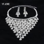 YFJEWE Fashion <b>Silver</b> Plated Crystal Pendants Necklace <b>Earrings</b> set Wedding Accessories Bridal Jewelry Sets For Women #N149
