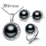 WATTENS New Fashion natural Pearl set, <b>jewelry</b> sets pearl pendant <b>necklace</b> ring earrings for women , wedding party <b>jewelry</b>,Love