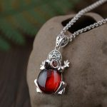 FNJ 925 Silver Frog Pendant New Fashion Red Black Stone Pure S925 Original Thai Silver Pendants for Women Men <b>Jewelry</b> <b>Making</b>
