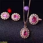 KJJEAXCMY boutique jewels 925 sterling <b>silver</b> with natural pink topaz jewelry 3 pieces pendant + necklace + <b>earrings</b> + ring.asdf