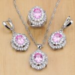 Mystic Pink Zircon White Crystal 925 Silver <b>Jewelry</b> Sets For Women Party <b>Accessories</b> Earrings/Pendant/Necklace/Rings