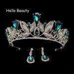 Green Crystal Bridal Wedding Tiaras Princess Queen Vintage Pageant Baroque Rhinestone Crowns Bride Hair <b>Jewelry</b> Accessories