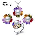 FENASY Ruby 925 Sterling <b>Silver</b> pearl jewelry sets,natural stud <b>earrings</b> for women chain pendant necklace engagement ring set