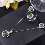 Natural green jasper jewelry sets natural gemstone ring <b>Earrings</b> Pendant 925 <b>silver</b> Stylish Elegant Heart women party jewelry