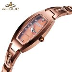 AESOP Dress Crystal Qaurtz Woman Watches Tungsten Steel Luxury Brand Ladies Watch Waterproof Gold <b>Silver</b> <b>Bracelet</b> Montre Femme