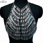 Chran AB Acrylic Gem Stone Crop Top Disco Party Chain <b>Necklace</b> Rave Bra Bralette Lingerie Festival Costume Wear <b>Jewelry</b> CRS202