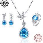 J.C Rare Anniversary Sapphire Blue Topaz Pendant & Ring & <b>Earring</b> Genuine Solid 925 Standard Sterling <b>Silver</b> Jewelry Set