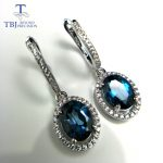 TBJ,Brand Design Elegant clasp drop <b>earring</b> with excellent London topaz in 925 <b>silver</b> color female jewelry with box