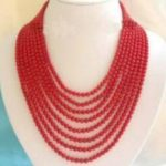 Charming fashion 8rows red artificial coral round beads necklace for women elegant <b>jewelry</b> <b>making</b> 17-24inch BV370