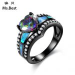 Heart Shaped Blue fire opal ring for women unique personalized fashion <b>jewelry</b> <b>native</b> <b>American</b> vintage design boho finger rings