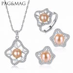 PAG&MAG Romantique Bohemia Style Set Pink Freshwater Pearl Necklace <b>Earrings</b> And Ring 925 Sterling <b>Silver</b> Jewelry Set For Women