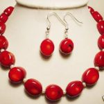Wedding Woman <b>Jewelry</b> set Oval Red Coral Bead Choker Necklace Dangle Earring <b>Handmade</b> Free Shipping