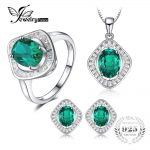 JewelryPalace Classic 7ct Nano Russian Simulated Emerald Pendant Necklace Stud <b>Earrings</b> Ring 925 Sterling <b>Silver</b> Jewelry Sets