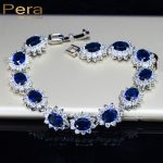 Pera Vintage Royal <b>Jewelry</b> Sterling 925 Silver Oval Blue Cubic Zirconia Link & Chain Bracelet For Women Christmas Gift B014