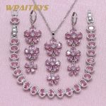 Exquisite Flower Red Pink Stone 925 Silver <b>Jewelry</b> Sets For Women Wedding Earrings Bracelet Pendant Necklace Free Gift Box