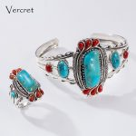 Vercret 925 <b>Silver</b> Bohemia Ring Natural Turquoise Stone 100% Pure S925 <b>Sterling</b> Solid <b>Silver</b> Rings for Women <b>Jewelry</b>