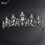 Miallo Classic Opal Stones Black Gold Tiaras and Crowns <b>Wedding</b> Hair Accessories Queen Head <b>Jewelry</b> Women Diadem Bride's Tiara