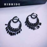 HIBRIDE Charm Black Gun Plated Cubic Zircon Women Hoop Earrings <b>Jewelry</b> <b>Fashion</b> Pendientes mujer moda Brinco E-733