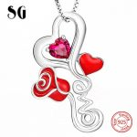 Authentic 925 sterling silver love heart rose pendant chain necklace with CZ European diy fashion <b>jewelry</b> <b>making</b> women gift