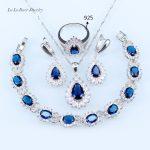 L&B Wedding <b>silver</b> Color 925 Logo Jewelry Sets Blue Crystal White Zircon For Women <b>Bracelets</b>/Earrings/Pendant/Neklace/Ring