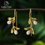 Lotus Fun Real 925 <b>Sterling</b> <b>Silver</b> Natural Freshwater Pearl Handmade Fine <b>Jewelry</b> Waterdrops from the Leaves Earrings for Women