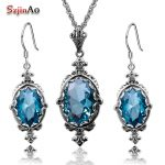 Szjinao Holiday Party Blue Aquamarine Jewelry Sets Oval Pendant Vintage <b>Earrings</b> For Women Solid 925 Sterling <b>Silver</b> Set