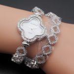 "HERMOSA jewelry The best gift genuine 925 sterling <b>silver</b> charm <b>bracelet</b> dazzling double flower beautiful watch 7"""