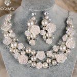 CC <b>jewelry</b> set necklace earring crowns for bridal crystal pearl romantic flower rhinestone wedding <b>accessories</b> enagaement zm003