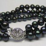 3 ROWS 7-8MM Black Pearl Bracelet 7.5″ women hot new fashion bracelet beads <b>jewelry</b> <b>making</b> Wholesale and retail