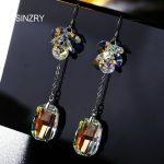 SINZRY elegant <b>Jewelry</b> DIY <b>handmade</b> dangle crystal earrings 925 sterling silver glass crystal drop earrings for women