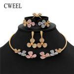 CWEEL Earings Fashion <b>Jewelry</b> Set for Women Gold Color Wedding <b>Jewelry</b> Set Imitation Crystal Flower Luxury Indian Jewellery