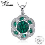 JewelryPalace Vintage Flower 4.5ct Nano Russian Simulated Emerald Pendant Chain <b>Necklaces</b> 925 Sterling <b>Silver</b> 45cm Box Chain