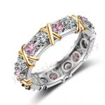 Size 5-11 Handmade Luxury Brand <b>Jewelry</b> Overlay 925 <b>Sterling</b> <b>silver</b> Pink AAA CZ stones Wedding Gold Band Rings for Women gift
