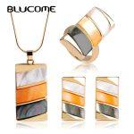 Blucome Luxury Bijuterias Shell Dubai <b>Jewelry</b> Sets Brand Women Wedding Rings Square <b>Necklace</b> Earrings Ring Set Bijoux Brincos
