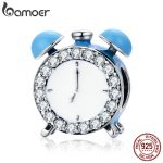 BAMOER Authentic 100% 925 Sterling Silver Happy Time Clock Hour Bell Charm Beads fit Bracelet Necklaces <b>Jewelry</b> <b>Making</b> SCC659