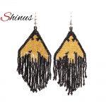 Shinus Gold Black Eagle Earrings MIYUKI Seed Beads <b>Native</b> <b>American</b> Long Earrings Women <b>Jewelry</b> Inspired Large Earrings Beadwork