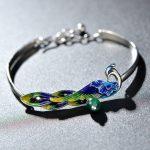 NEW Blue Enamel Peacock 925 Sterling <b>Silver</b> Green Malachite Bangle Cuff <b>Bracelet</b>