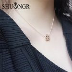 SHUANGR Trendy OL Style Smile Chain Necklaces & Pendants Simple Rose Gold Sliver Color for Women Girls Wedding Gifts <b>Jewelry</b>
