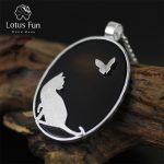 Lotus Fun Real 925 <b>Sterling</b> <b>Silver</b> Natural Agate Handmade Fine <b>Jewelry</b> Cat and Butterfly Pendant without Chain Women Acessorios