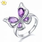 Hutang Natural Gemstone Amethyst Butterfly Ring Solid 925 Sterling <b>Silver</b> Purple Gemstones Fine Fashion Stone <b>Jewelry</b> For Gift