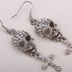 Skull skeleton cross dangle earrings for women biker crystal <b>jewelry</b> gifts EM35 <b>antique</b> silver gold color wholesale dropship