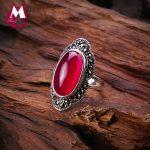 100% 925 Sterling <b>Silver</b> Ring For Women Original Design Red Jade Open Ring Gemstone Diamond Wedding Valentine's Day <b>Jewelry</b> SR10