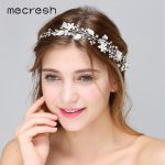 Mecresh Silver Color Simulated Pearl Wedding Hair Accessories Spring Flowers Crystal Bridal Headband Party <b>Jewelry</b> MTS064