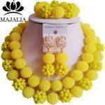 Trendy yellow Nigeria Wedding african beads <b>jewelry</b> set Crystal Plastic pearl <b>necklace</b> Bridal <b>Jewelry</b> Set Free shippin GG-446